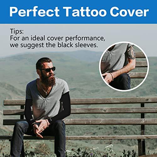 MoKo Mangas del Brazo con Protección UV, Solar UPF 50-Protección Cubierta de Tatuajes de Brazo de Mangas para Mujeres, Hombres para Golf, Ciclismo, Pesca, Baloncesto, Voleibol, Tamaño XL - Negro