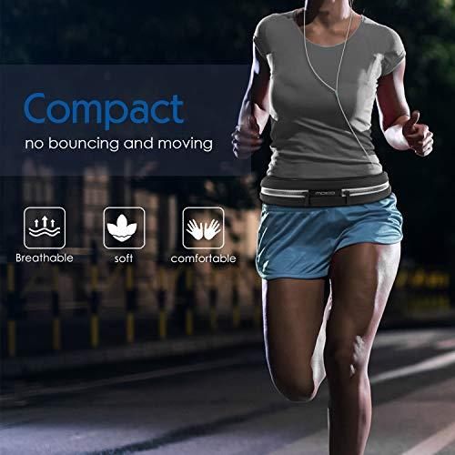 MoKo Riñoneras Belt Universal - Deportivo Cinturón de Correr con Cremallera y Prueba de Sudor para Ejercicios, Fitness, Gimnasio para iPhone XS/XS MAX/XR Galaxy S10 S10 Plus S10e, Negro