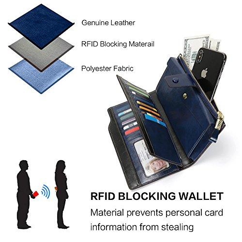 Monederos Mujer Cartera Mujer de Gran Capacidad con RFID Bloqueo, 20 Ranuras Bolsos, Caja de Regalo, Largo Billeteras Mujer Cremallera de Bolsillo para Regalos Mujer y Amigos San Valentín (Azul)