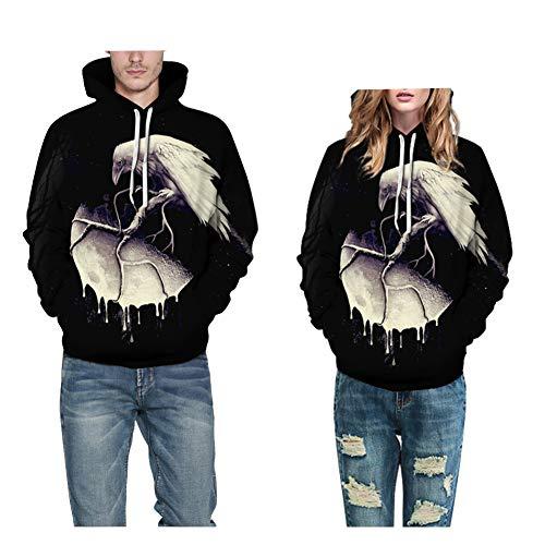Morbuy Unisex Sudaderas con Capucha para Mujer Hombres 3D, Hoodie Blusa Camiseta de Manga Larga de Sencillo Casual de Otoño Invierno Primavera con Bolsillos Draws (S/M, Cuervo Muerto)