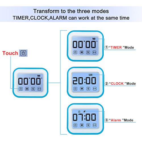 MOSUO Temporizador de Cocina, Cronómetro con Pantalla táctil, Temporizador Digital Magnético/Reloj/Alarma, Cuenta Atrás/hacia Delante, LED Pantalla 12/24h, Azul-Blanco