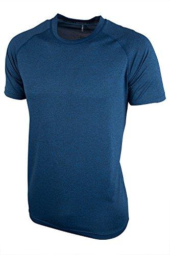Mountain Warehouse Agra Camiseta mélange para Hombre - Ligera, cómoda, con Cuello Redondo, de Secado rápido y protección UV - para Viajar y Caminar Azul L