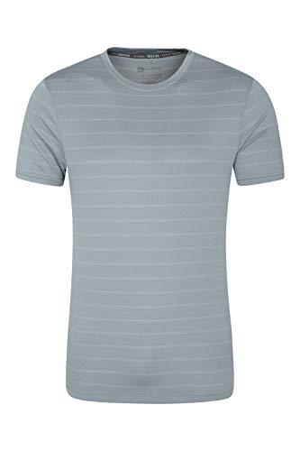 Mountain Warehouse Trace t-Shirt con Rayas en Relieve Hombre - Camiseta UV50+, Parte de Arriba en Corte Holgado, Top Transpirable, Secado rápido - para Viaje, Senderismo Azul Claro M