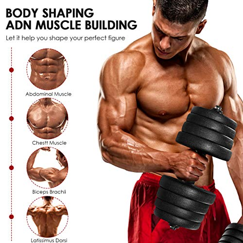 MOVTOTOP Juego de mancuernas de 30 kg,juego de pesas con mancuernas ajustables para hombres y mujeres,juego de mancuernas sólidas para fitness en casa