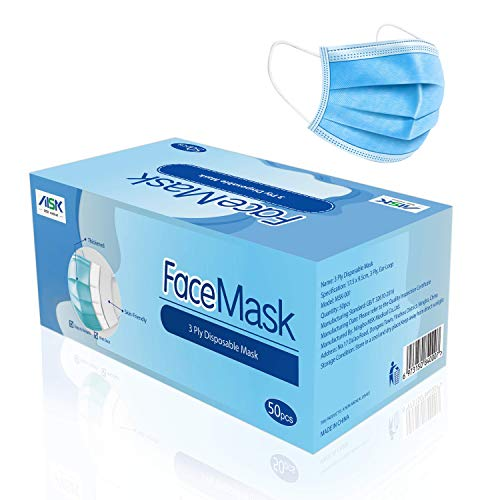 MSK Máscaras No Médicas, de Uso General, de 3 Capas (Paquete de 50 Piezas)