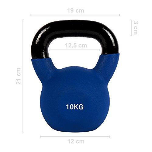 Msports - Pesa rusa con neopreno profesional de 2 a 30 kg, incluye póster de ejercicios (idioma español no garantizado), 10 kg – azul oscuro.