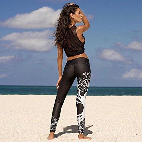 Mujer Pantalones Largos deportivos SMARTLADY Patrón de árbol Leggings para Running, Yoga y Ejercicio (M, Negro)