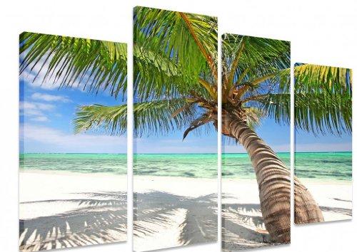 "Multi Split Panel arte en lienzo Art–Tropical playa de arena blanca Palm Árbol mar océano isla paraíso Costa–Art Depot Outlet–4Panel–101cm x 71cm (40""x28"")"
