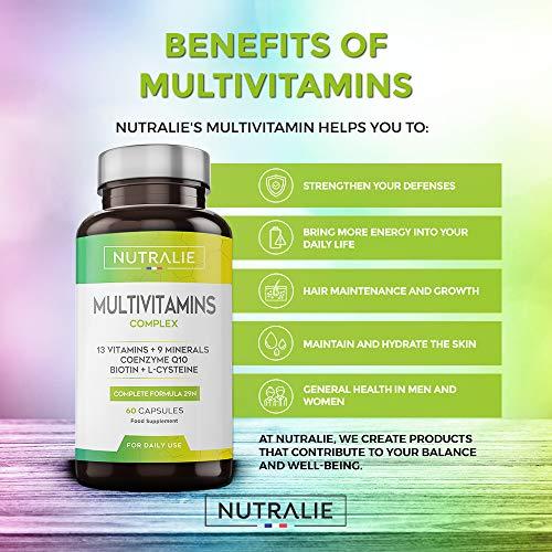Multivitaminas y Minerales 29 Nutrientes Esenciales | Complejo Multivitaminico Vegano con Vitaminas A, B, C, D, E, K, Biotina, L-cisteína, Coenzima Q10 y 9 Minerales | 60 Cápsulas Veganas Nutralie