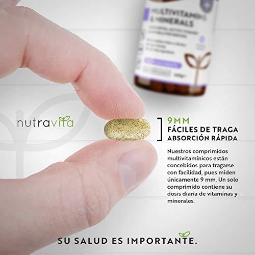 Multivitaminas y Minerales - 365 Comprimidos Multivitamínicos Veganos (Suministro para 1 año) con 26 Vitaminas y Minerales Activos Esenciales - Elaborados en el Reino Unido por Nutravita