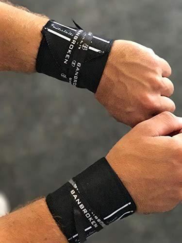 Muñequeras BLACK LIFTER BANBROKEN (1 PAR) Estabilidad en muñecas para Fitness, Gimnasio, Crossfit, Calistenia, Halterofilia, Pesas - Hombre, Mujer -Talla Única (2unds)