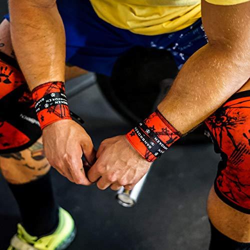 Muñequeras RED SKULL BANBROKEN (1 PAR) Estabilidad en muñecas para Fitness, Gimnasio, Crossfit, Calistenia, Halterofilia, Pesas - Hombre, Mujer -Talla Única (2unds)