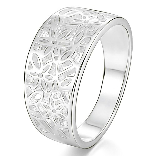 MunkiMix 925 Plata Banda Venda Anillo Ring Flor Flower Patrón Hoja Filigrana Alianzas Boda Talla Tamaño 20 Mujer