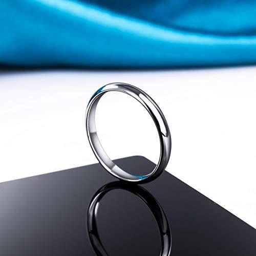 MunkiMix Ancho 2mm Acero Inoxidable Banda Venda Anillo Ring El Tono De Plata Alianzas Boda Talla Tamaño 7 Hombre,Mujer
