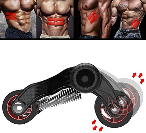 Muscular de ruedas, equipo abdominal Ejercicio, Ab Roller ejercicio abdominal con densamente estera del cojín de la rodilla, estable for evitar vuelcos, el equilibrio y la eficiencia perfecta for la a