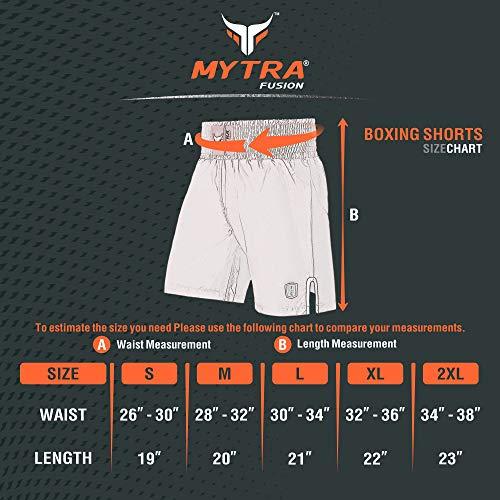 Mytra Fusion Satin Boxing Shorts, MMA Shorts, Combat Shorts, Ring Shorts, Training Shorts (Black, Large)