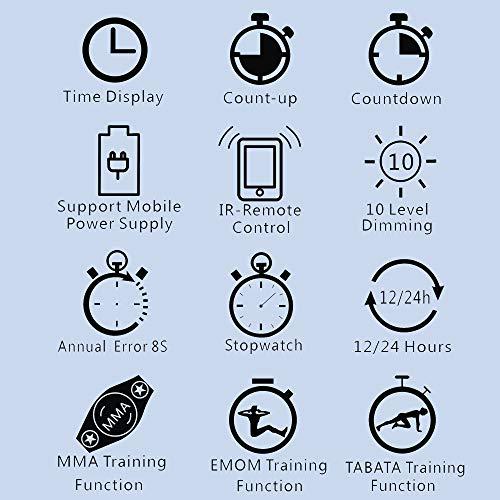 N/ A 1.5 Inch 6 Digital Led Countdown Timer Cronómetro Reloj de Pared para Gimnasio Fitness Home (Verde/Rojo)