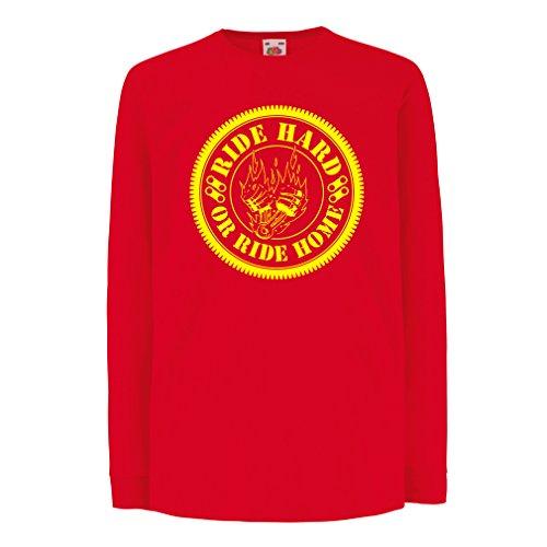 N4688D La Camiseta de los niños con Mangas largas Ride Hard! Biker Clothing (12-13 Years Rojo Multicolor)
