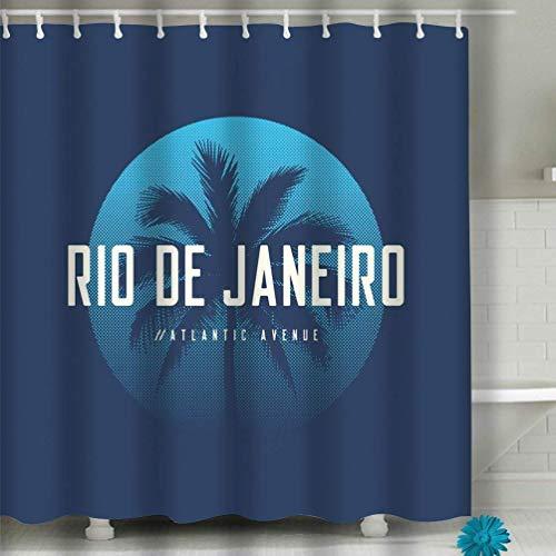 N\A Conjuntos de decoración de baño con Ganchos Cortina de Ducha Diseño de Indumentaria Atlantic Avenue de Río de Janeiro p Diseño de Indumentaria Atlantic Avenue de Río de Janeiro