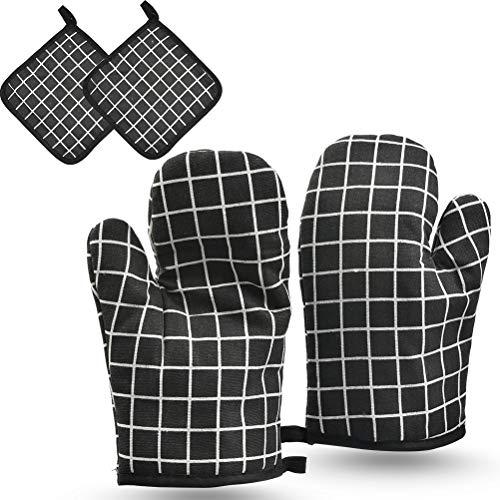 N\A Guantes con Aislamiento de Lino y algodón de 4 Piezas con Rejilla Negra