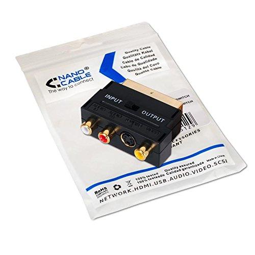 NanoCable 10.27.0051 - Adaptador con Euroconector SCART a RCA/SVIDEO, SCART/M-3xRCA/ H + SVIDEO/H con Switch, Negro