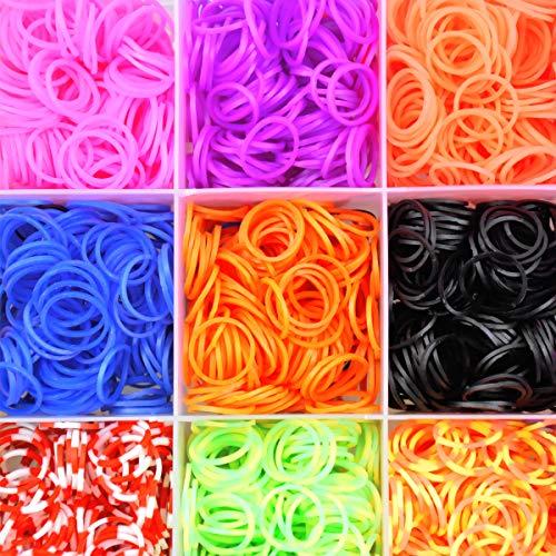 NATUCE 4400PCS Bandas de Goma DIY Cintas de Telar Kit de Pulseras con Bandas de Telar Pulsera Collar Herramienta de Tejer para Niños Juguete, Bandas de Goma para Hacer Pulseras De Colores Loom Kit