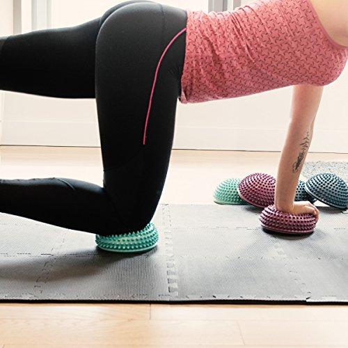 Navaris Bola de Equilibrio para Mejorar coordinación - Set de 2 Bolas Fitness diseño Erizo para Entrenar - Cojín para Estabilidad en DIV. Colores