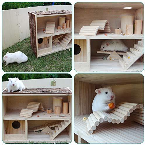 Navaris Casa de Madera Natural para hámster - Casa de Juegos con rampas Puente y escondite para Ratones hámster roedores jerbos - 39 x 20 x 27.5CM