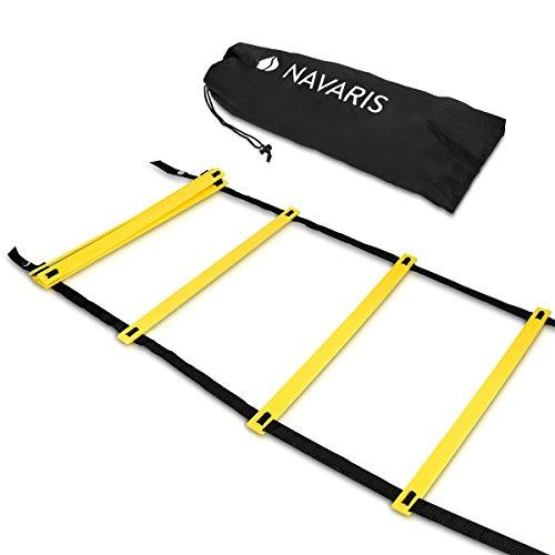 Navaris Escalera de Entrenamiento - Escalera para Hacer Deporte de 6M - para Mejorar Agilidad Velocidad coordinación - con 2 Bolsos