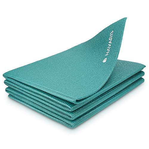 Navaris Esterilla de Yoga Antideslizante - Colchoneta de Gimnasia Plegable - 173 x 61 x 0.4 CM - Alfombra de Entrenamiento Deportes Gimnasia Pilates