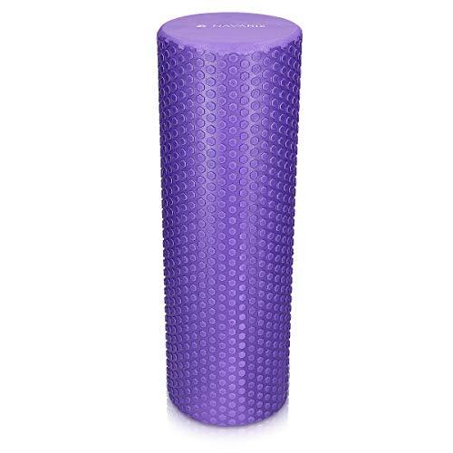 Navaris Rodillo para Pilates de 45CM - Rodillo de Espuma para Masaje Fitness y Yoga - Foam Roller para fortalecimiento Muscular en Morado