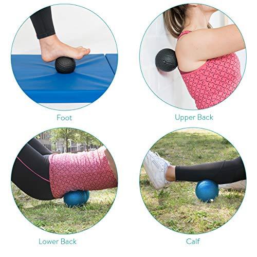 Navaris Set de 2 Pelotas para Masaje - Bolas Lacrosse Simple y Doble - Terapia miofascial para Espalda Pierna Cuello y pie - con Bolsa de Transporte