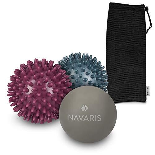Navaris Set de 3 Bolas de Masaje - 2X Bolas con Pinchos y 1x Bola de Lacrosse - para aliviar Dolores musculares - Pelotas para liberación miofascial