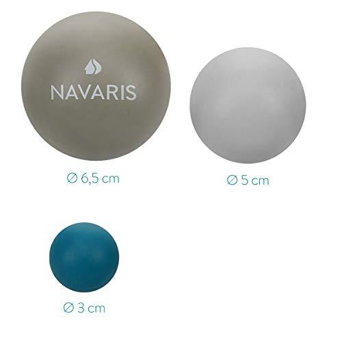 Navaris Set de 3 pelotas para masajes - Bolas de lacrosse en dif. tamaños para automasajes - Bolas para aliviar dolor fisioterapia terapia de puntos