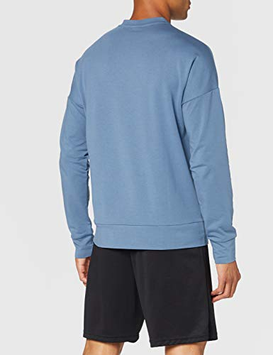 New Balance Reclaim Hybrid Crew Camiseta, Hombre, Chambray Heather, Small