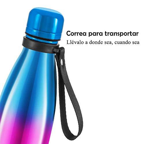 Newdora Botella de Agua Acero Inoxidable 500ml, Aislamiento de Vacío de Doble Pared, Botellas de Frío/Caliente, con 1 un Cepillo de Limpieza, para Niños, Deporte, Oficina, Gimnasio, Ciclismo (Chapado)