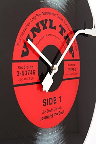 """NeXtime Reloj de pared  """"VINYL TAP"""", diseño disco de vinilo, de vidrio, negro y rojo, redondo, ø 43 cm"""