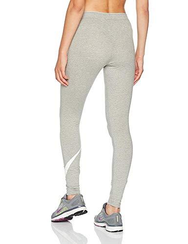 NIKE Club Legging Logo 2 Mallas, Mujer, Multicolor (Dk Grey Heather/White/White), L