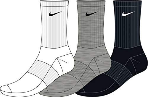 Nike Everyday Lightweight Crew Trainings Socks (3 Pairs), Calcetines Hombre, Multicolor, 34–38 (Talla del fabricante: S)
