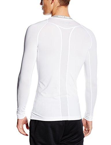 NIKE Langarmshirt Cool Comp Camiseta de Mangas largas, Hombre, Blanco/Plateado/Negro, XL