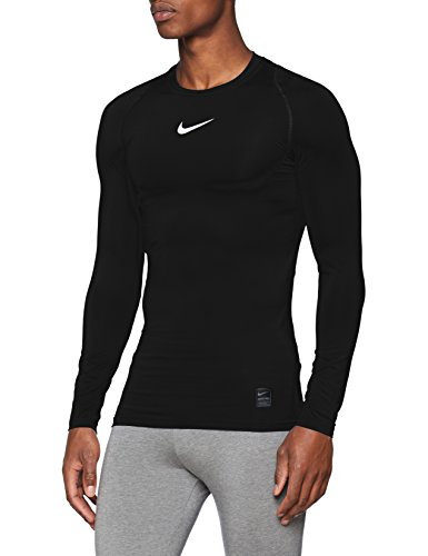 NIKE M NP Top LS Comp Long Sleeved T-Shirt, Hombre, Black/White/(White), S