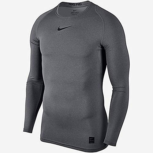 NIKE M NP Top LS Comp Long Sleeved T-Shirt, Hombre, Carbon Heather/Black/Black, M