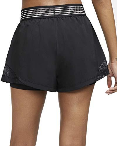 NIKE W NK FLX 2In1 Short Wvn Essnt Pantalones Cortos de Deporte, Mujer, Black/Black/Thunder Grey, S