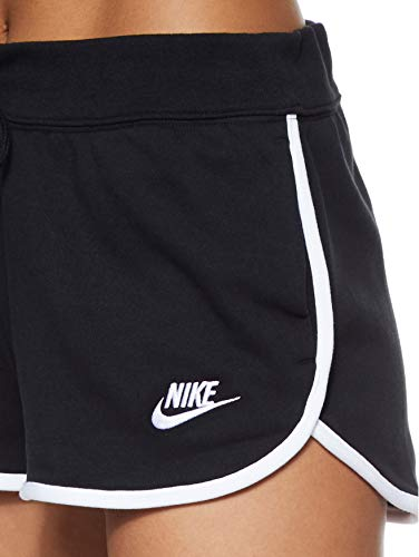 NIKE W NSW HRTG Short FLC Pantalones Cortos de Deporte, Mujer, Black/White/White, M