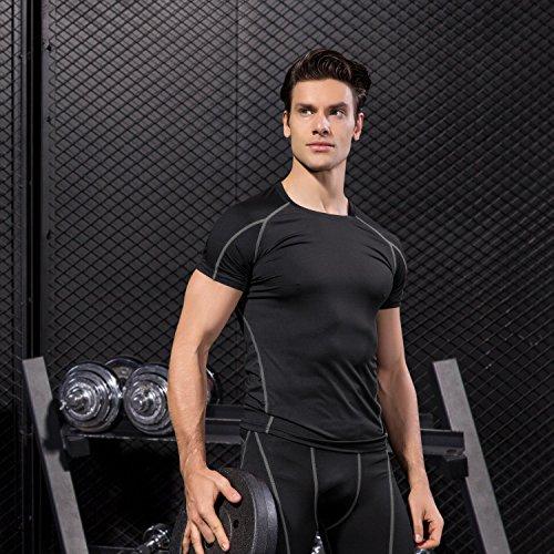 Niksa 2 Piezas Camisetas de Fitness Compresión Ropa Deportiva Manga Corta Hombre para Correr, Ejercicio,Gimnasio Negro Rojo 1053(L)