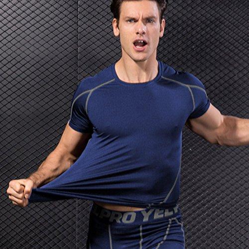 Niksa 2 Piezas Camisetas de Fitness Compresión Ropa Deportiva Manga Corta Hombre para Correr, Ejercicio,Gimnasio Negro Rojo+Azul Marino 1053(L)