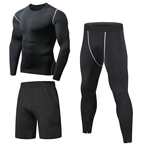 Niksa 3 Piezas Conjunto de Compresion Hombre, Camisetas Compression Mallas Running Pantalon Corto Deporte Ropa Deportiva Hombre para Running, Correr, Gym, Fitness S