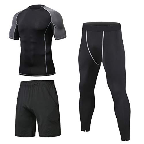 Niksa 3 Piezas Conjunto de Compresion Hombre, Camisetas Compression Mallas Running Pantalon Corto Deporte Ropa Deportiva Hombre para Running, Correr, Gym, Fitness M