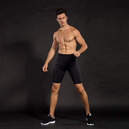 Niksa Mallas Cortas Running Hombre Pantalones Cortos de Compresión para Deporte, Fitness, Gym Negro Medium