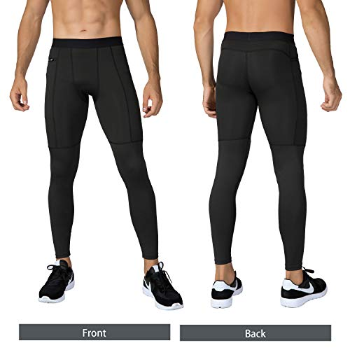Niksa Mallas Hombre Deporte Leggings Deporte Pantalón Largo de Compresión Negro Gris 2X